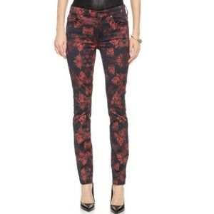 7 FOR ALL MANKIND Rose Print Skinny Jeans Sz 30